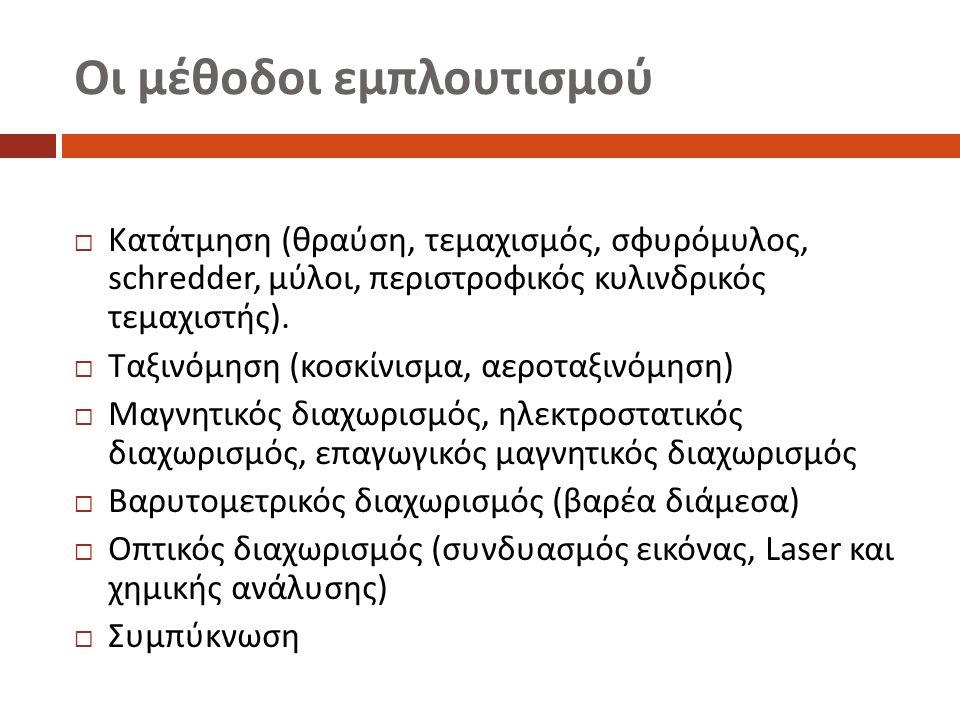 Οι μέθοδοι εμπλουτισμού  Κατάτμηση ( θραύση, τεμαχισμός, σφυρόμυλος, schredder, μύλοι, περιστροφικός κυλινδρικός τεμαχιστής ).