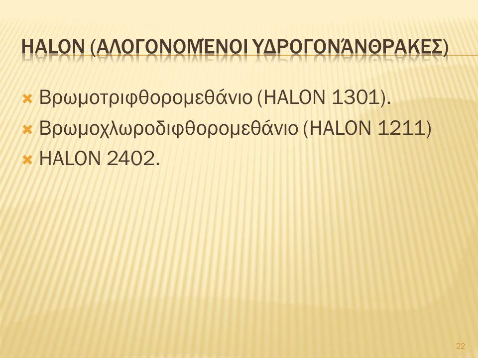  Βρωμοτριφθορομεθάνιο (HALON 1301).  Βρωμοχλωροδιφθορομεθάνιο (HALON 1211)  HALON 2402. 22