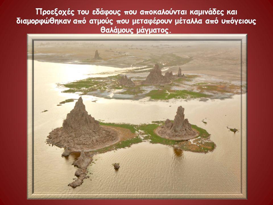 Προεξοχές του εδάφους που αποκαλούνται καμινάδες και διαμορφώθηκαν από ατμούς που μεταφέρουν μέταλλα από υπόγειους θαλάμους μάγματος.