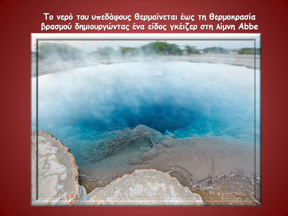 Το νερό του υπεδάφους θερμαίνεται έως τη θερμοκρασία βρασμού δημιουργώντας ένα είδος γκέιζερ στη λίμνη Abbe