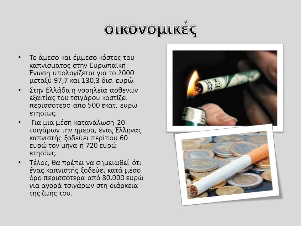 Το άμεσο και έμμεσο κόστος του καπνίσματος στην Ευρωπαϊκή Ένωση υπολογίζεται για το 2000 μεταξύ 97,7 και 130,3 δισ.