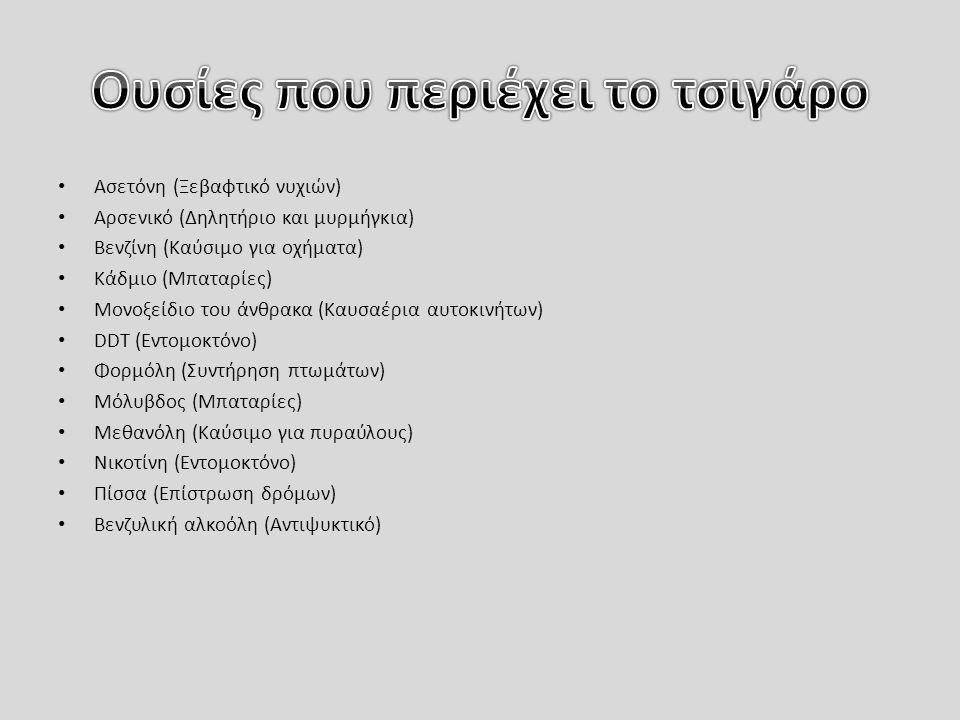 Ασετόνη (Ξεβαφτικό νυχιών) Αρσενικό (Δηλητήριο και μυρμήγκια) Βενζίνη (Καύσιμο για οχήματα) Κάδμιο (Μπαταρίες) Μονοξείδιο του άνθρακα (Καυσαέρια αυτοκινήτων) DDT (Εντομοκτόνο) Φορμόλη (Συντήρηση πτωμάτων) Μόλυβδος (Μπαταρίες) Μεθανόλη (Καύσιμο για πυραύλους) Νικοτίνη (Εντομοκτόνο) Πίσσα (Επίστρωση δρόμων) Βενζυλική αλκοόλη (Αντιψυκτικό)
