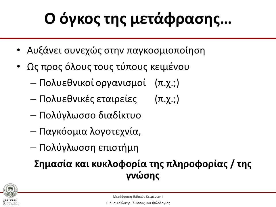 Αριστοτέλειο Πανεπιστήμιο Θεσσαλονίκης Μετάφραση Ειδικών Κειμένων Ι Τμήμα Γαλλικής Γλώσσας και Φιλολογίας Ο όγκος της μετάφρασης… Αυξάνει συνεχώς στην παγκοσμιοποίηση Ως προς όλους τους τύπους κειμένου – Πολυεθνικοί οργανισμοί (π.χ.;) – Πολυεθνικές εταιρείες(π.χ.;) – Πολύγλωσσο διαδίκτυο – Παγκόσμια λογοτεχνία, – Πολύγλωσση επιστήμη Σημασία και κυκλοφορία της πληροφορίας / της γνώσης
