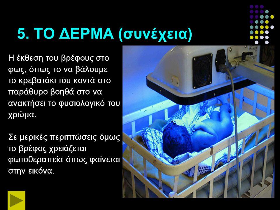 5. ΤΟ ΔΕΡΜΑ (συνέχεια) Η έκθεση του βρέφους στο φως, όπως το να βάλουμε το κρεβατάκι του κοντά στο παράθυρο βοηθά στο να ανακτήσει το φυσιολογικό του