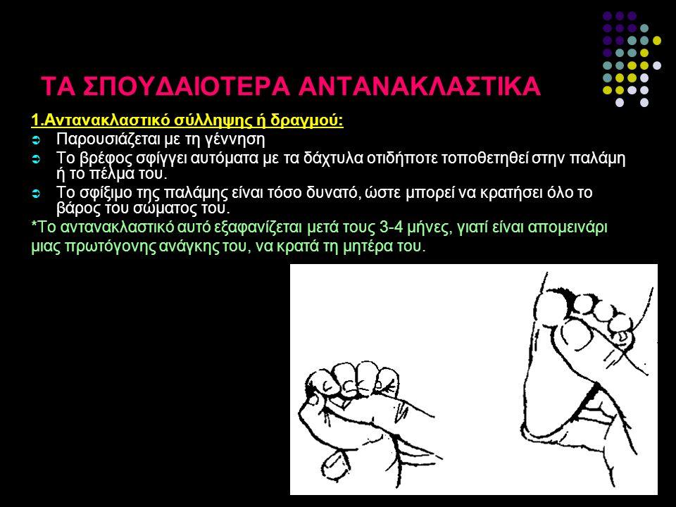 ΤΑ ΣΠΟΥΔΑΙΟΤΕΡΑ ΑΝΤΑΝΑΚΛΑΣΤΙΚΑ 1.Αντανακλαστικό σύλληψης ή δραγμού:  Παρουσιάζεται με τη γέννηση  Το βρέφος σφίγγει αυτόματα με τα δάχτυλα οτιδήποτε