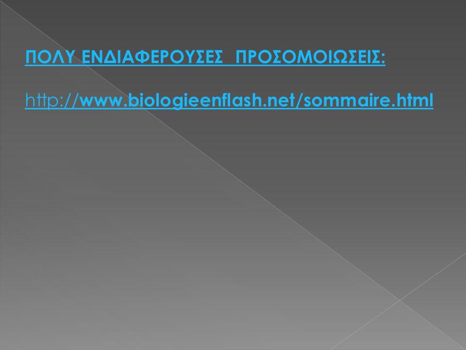 ΠΟΛΥ ΕΝΔΙΑΦΕΡΟΥΣΕΣ ΠΡΟΣΟΜΟΙΩΣΕΙΣ: http:// www.biologieenflash.net/sommaire.html