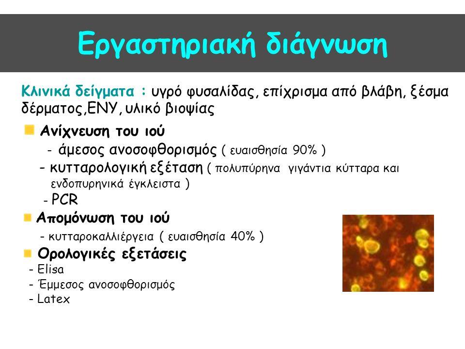 Εργαστηριακή διάγνωση Κλινικά δείγματα : υγρό φυσαλίδας, επίχρισμα από βλάβη, ξέσμα δέρματος,ΕΝΥ, υλικό βιοψίας Ανίχνευση του ιού - άμεσος ανοσοφθορισμός ( ευαισθησία 90% ) - κυτταρολογική εξέταση ( πολυπύρηνα γιγάντια κύτταρα και ενδοπυρηνικά έγκλειστα ) - PCR Απομόνωση του ιού - κυτταροκαλλιέργεια ( ευαισθησία 40% ) Ορολογικές εξετάσεις - Elisa - Έμμεσος ανοσοφθορισμός - Latex