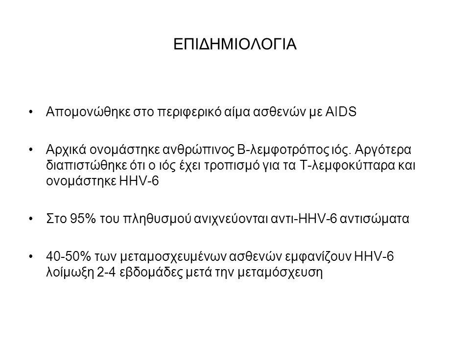 ΕΠΙΔΗΜΙΟΛΟΓΙΑ Απομονώθηκε στο περιφερικό αίμα ασθενών με AIDS Αρχικά ονομάστηκε ανθρώπινος Β-λεμφοτρόπος ιός.