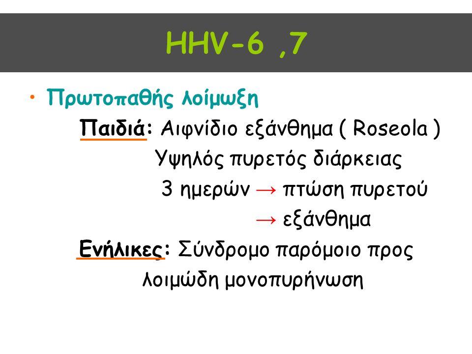 HHV-6,7 Πρωτοπαθής λοίμωξη Παιδιά: Αιφνίδιο εξάνθημα ( Roseola ) Yψηλός πυρετός διάρκειας 3 ημερών → πτώση πυρετού → εξάνθημα Ενήλικες: Σύνδρομο παρόμοιο προς λοιμώδη μονοπυρήνωση