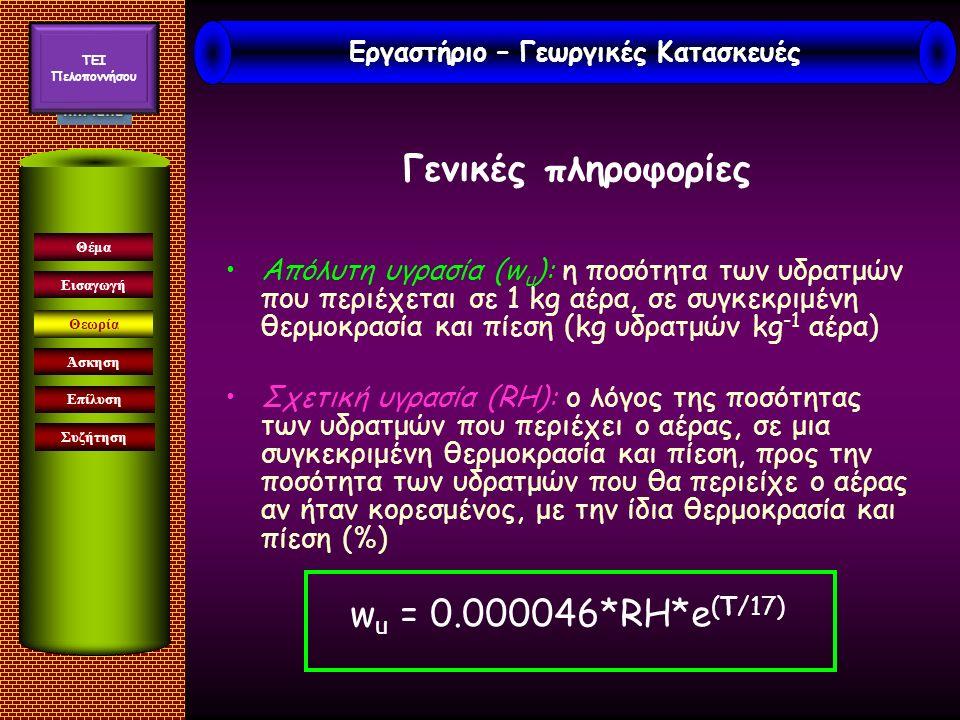 Γενικές πληροφορίες Απόλυτη υγρασία (w u ): η ποσότητα των υδρατμών που περιέχεται σε 1 kg αέρα, σε συγκεκριμένη θερμοκρασία και πίεση (kg υδρατμών kg