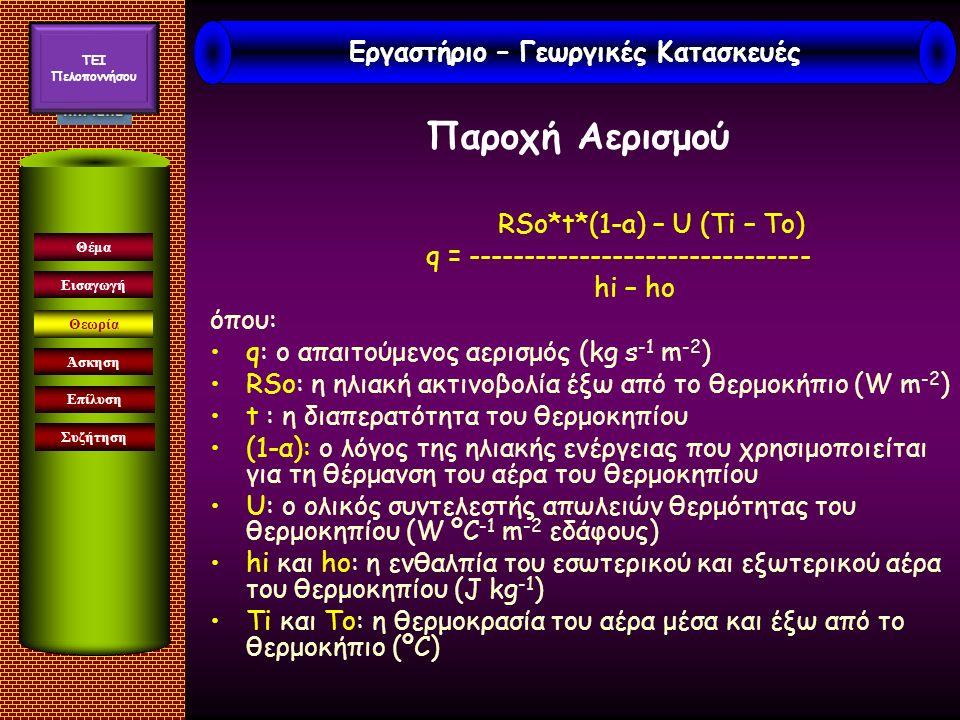 Παροχή Αερισμού RSo*t*(1-a) – U (Ti – To) q = ------------------------------- hi – ho όπου: q: ο απαιτούμενος αερισμός (kg s -1 m -2 ) RSο: η ηλιακή ακτινοβολία έξω από το θερμοκήπιο (W m -2 ) t : η διαπερατότητα του θερμοκηπίου (1-α): ο λόγος της ηλιακής ενέργειας που χρησιμοποιείται για τη θέρμανση του αέρα του θερμοκηπίου U: ο ολικός συντελεστής απωλειών θερμότητας του θερμοκηπίου (W ºC -1 m -2 εδάφους) hi και ho: η ενθαλπία του εσωτερικού και εξωτερικού αέρα του θερμοκηπίου (J kg -1 ) Ti και To: η θερμοκρασία του αέρα μέσα και έξω από το θερμοκήπιο (ºC) Εισαγωγή Άσκηση Επίλυση Συζήτηση Θέμα Θεωρία Εργαστήριο – Γεωργικές Κατασκευές TEI Πελοποννήσου