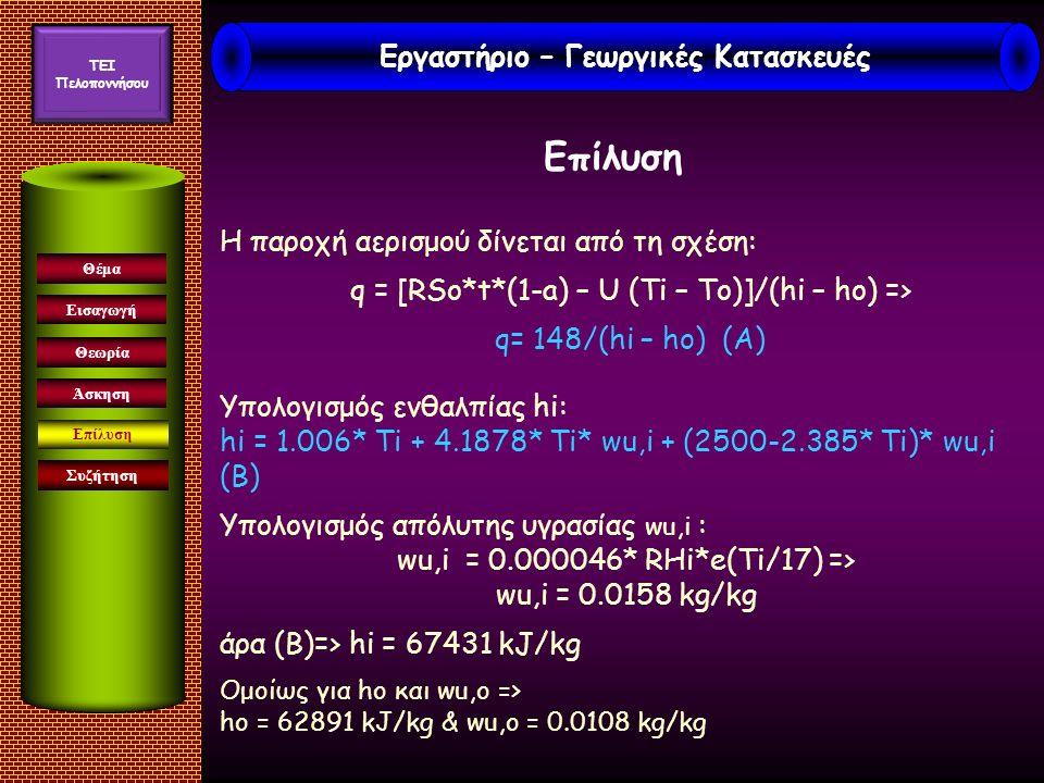 Εισαγωγή Συζήτηση Θέμα Θεωρία Άσκηση Επίλυση Η παροχή αερισμού δίνεται από τη σχέση: q = [RSo*t*(1-a) – U (Ti – To)]/(hi – ho) => q= 148/(hi – ho) (A) Υπολογισμός ενθαλπίας hi: hi = 1.006* Ti + 4.1878* Ti* wu,i + (2500-2.385* Ti)* wu,i (B) Υπολογισμός απόλυτης υγρασίας wu,i : wu,i = 0.000046* RHi*e(Ti/17) => wu,i = 0.0158 kg/kg άρα (Β)=> hi = 67431 kJ/kg Ομοίως για ho και wu,o => ho = 62891 kJ/kg & wu,o = 0.0108 kg/kg Εργαστήριο – Γεωργικές Κατασκευές TEI Πελοποννήσου