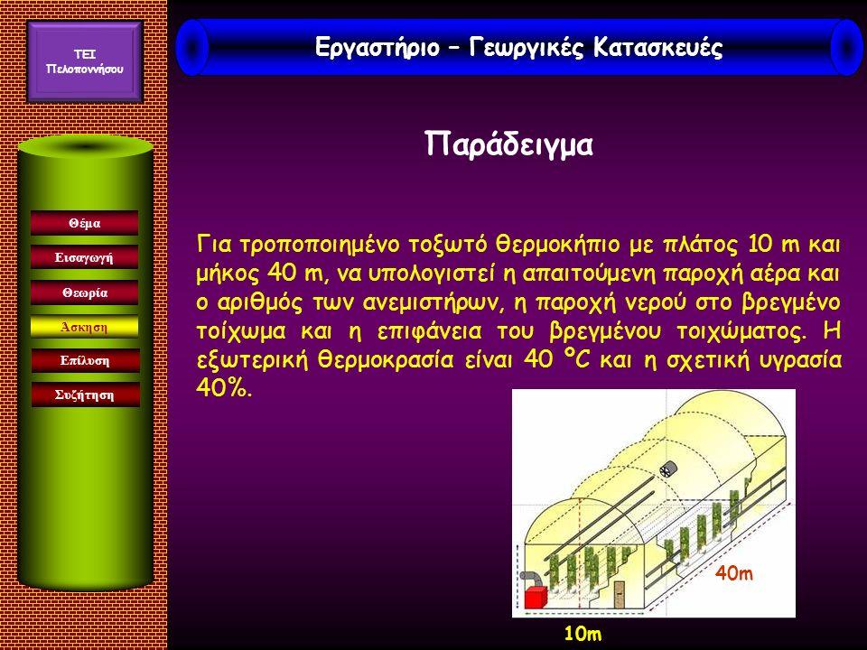 Εισαγωγή Άσκηση Επίλυση Συζήτηση Θέμα Θεωρία Για τροποποιημένο τοξωτό θερμοκήπιο με πλάτος 10 m και μήκος 40 m, να υπολογιστεί η απαιτούμενη παροχή αέρα και ο αριθμός των ανεμιστήρων, η παροχή νερού στο βρεγμένο τοίχωμα και η επιφάνεια του βρεγμένου τοιχώματος.