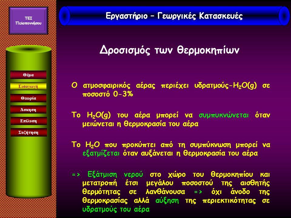 Εισαγωγή Άσκηση Επίλυση Συζήτηση Θέμα Θεωρία Ο ατμοσφαιρικός αέρας περιέχει υδρατμούς-Η 2 Ο(g) σε ποσοστό 0-3% Το Η 2 Ο(g) του αέρα μπορεί να συμπυκνώνεται όταν μειώνεται η θερμοκρασία του αέρα Το Η 2 Ο που προκύπτει από τη συμπύκνωση μπορεί να εξατμίζεται όταν αυξάνεται η θερμοκρασία του αέρα => Εξάτμιση νερού στο χώρο του θερμοκηπίου και μετατροπή έτσι μεγάλου ποσοστού της αισθητής θερμότητας σε λανθάνουσα => όχι άνοδο της θερμοκρασίας αλλά αύξηση της περιεκτικότητας σε υδρατμούς του αέρα Δροσισμός των θερμοκηπίων Εργαστήριο – Γεωργικές Κατασκευές TEI Πελοποννήσου