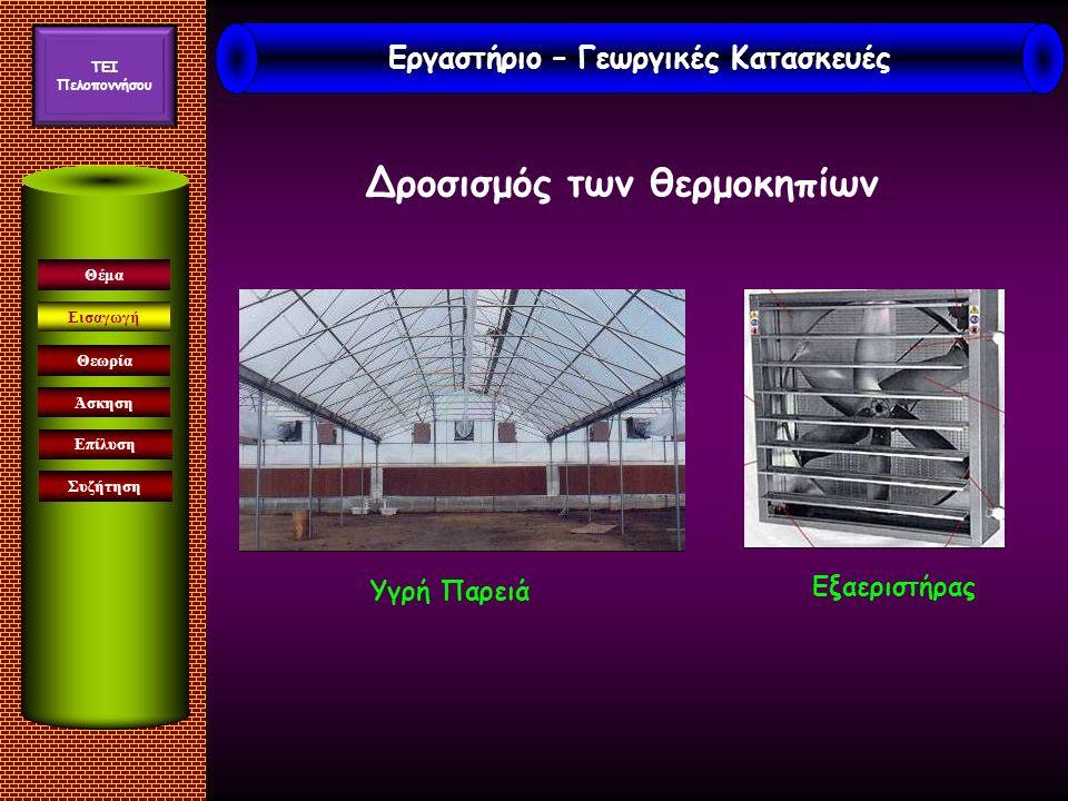 Εισαγωγή Άσκηση Επίλυση Συζήτηση Θέμα Θεωρία Δροσισμός των θερμοκηπίων Υγρή Παρειά Εξαεριστήρας Εργαστήριο – Γεωργικές Κατασκευές TEI Πελοποννήσου