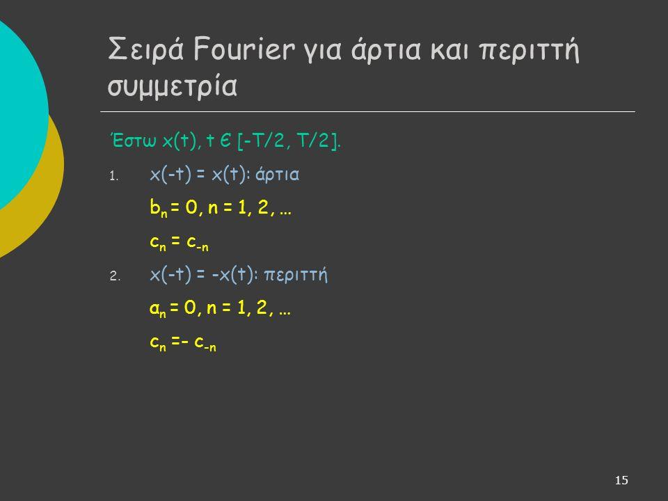 15 Έστω x(t), t Є [-T/2, T/2]. 1. x(-t) = x(t): άρτια b n = 0, n = 1, 2, … c n = c -n 2.