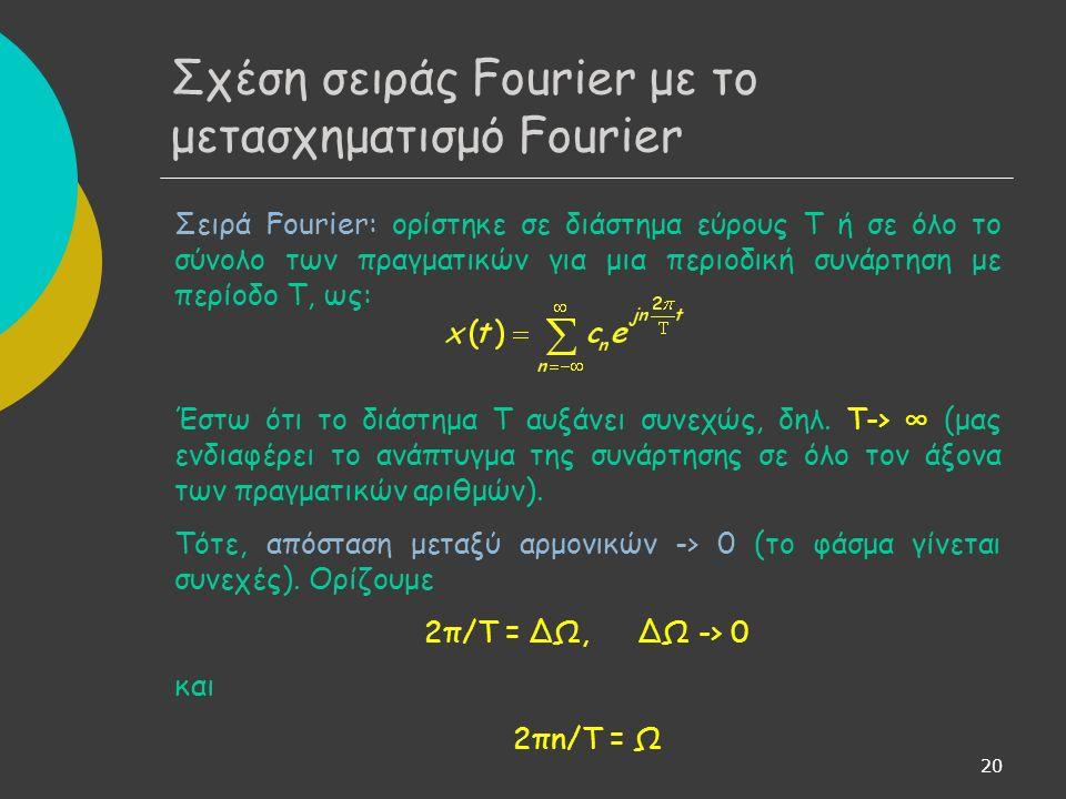 20 Σειρά Fourier: ορίστηκε σε διάστημα εύρους Τ ή σε όλο το σύνολο των πραγματικών για μια περιοδική συνάρτηση με περίοδο Τ, ως: Έστω ότι το διάστημα Τ αυξάνει συνεχώς, δηλ.