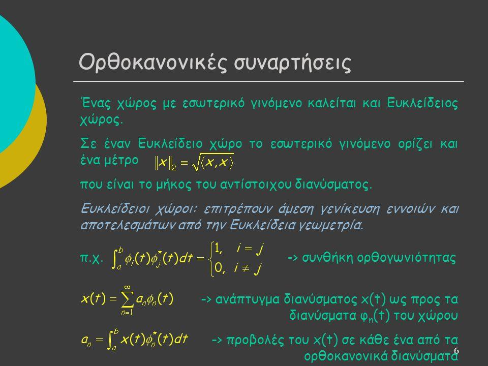 7 Έστω x(t) συνάρτηση στο διάστημα [t 0,t 0 +T] και έστω ότι υπάρχει το ανάπτυγμα: όπου Ω 0 =2π/T.
