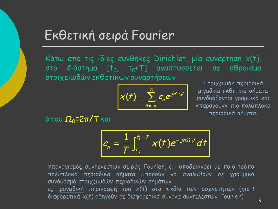 9 Κάτω από τις ίδιες συνθήκες Dirichlet, μία συνάρτηση x(t), στο διάστημα [t 0, t 0 +T] αναπτύσσεται σε άθροισμα στοιχειωδών εκθετικών συναρτήσεων όπου Ω 0 =2π/T και Εκθετική σειρά Fourier Στοιχειώδη περιοδικά μιγαδικά εκθετικά σήματα συνδυάζονται γραμμικά και «παράγουν» πιο πολύπλοκα περιοδικά σήματα.