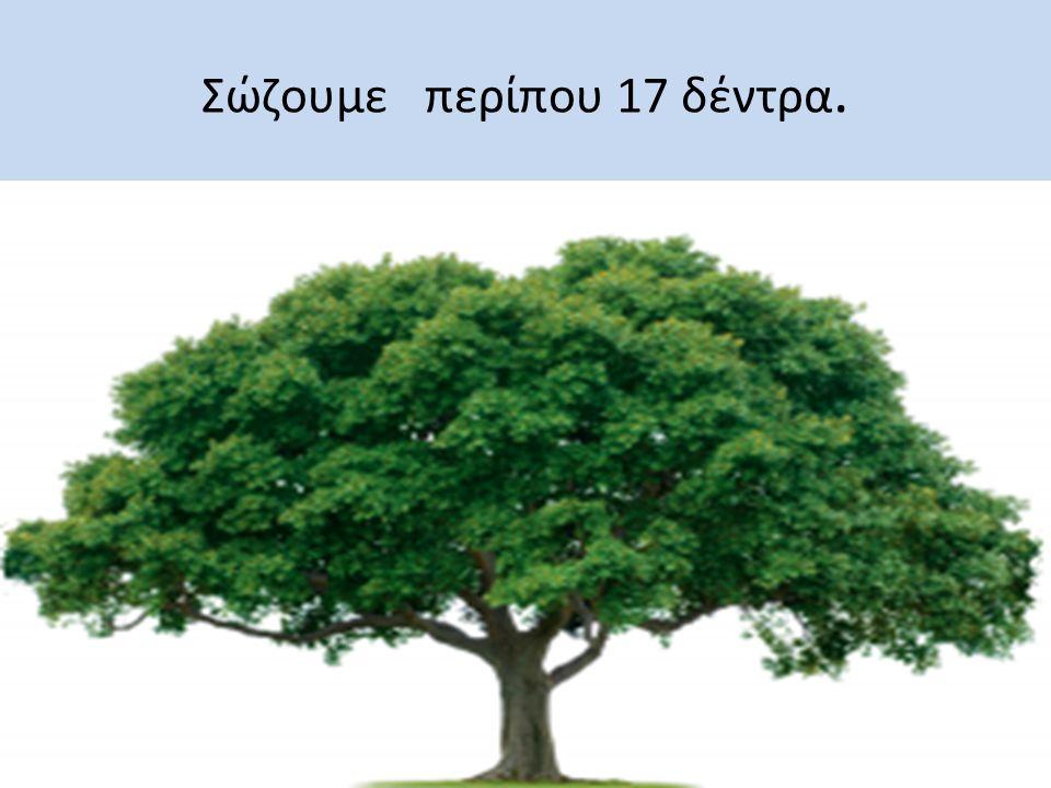 Σώζουμε περίπου 17 δέντρα.
