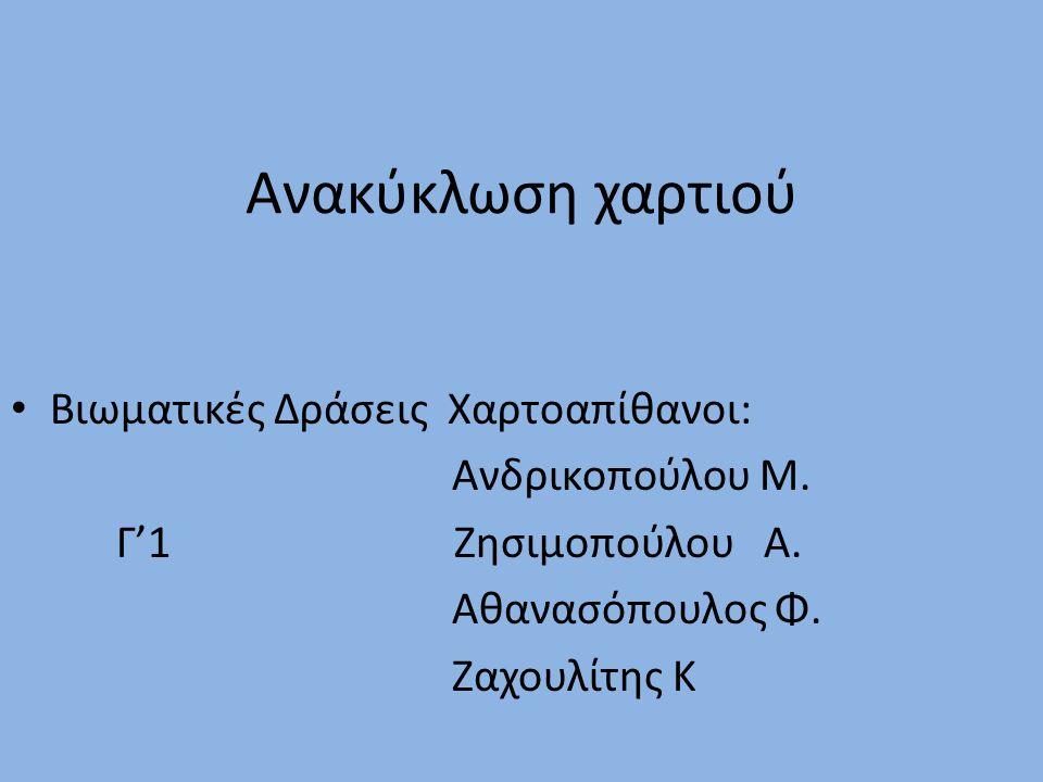 Ανακύκλωση χαρτιού Βιωματικές Δράσεις Χαρτοαπίθανοι: Ανδρικοπούλου Μ.