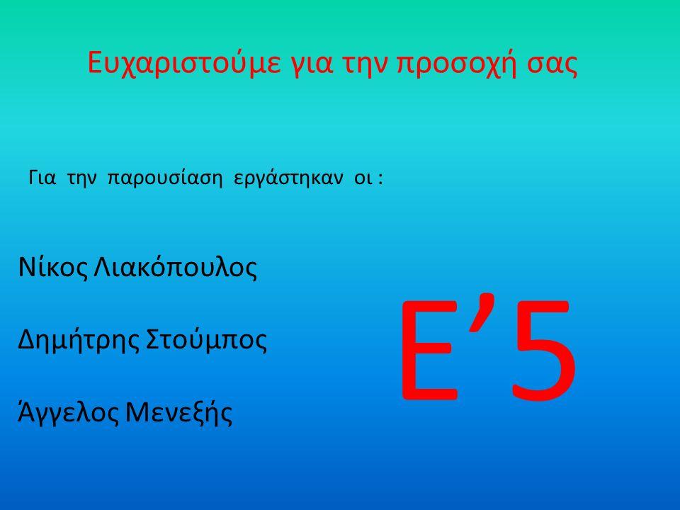 Ευχαριστούμε για την προσοχή σας Νίκος Λιακόπουλος Δημήτρης Στούμπος Άγγελος Μενεξής Για την παρουσίαση εργάστηκαν οι : Ε'5
