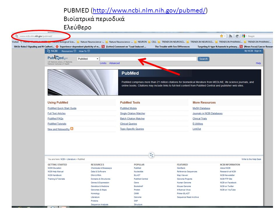 PUBMED (http://www.ncbi.nlm.nih.gov/pubmed/)http://www.ncbi.nlm.nih.gov/pubmed/ Βιοϊατρικά περιοδικά Ελεύθερο
