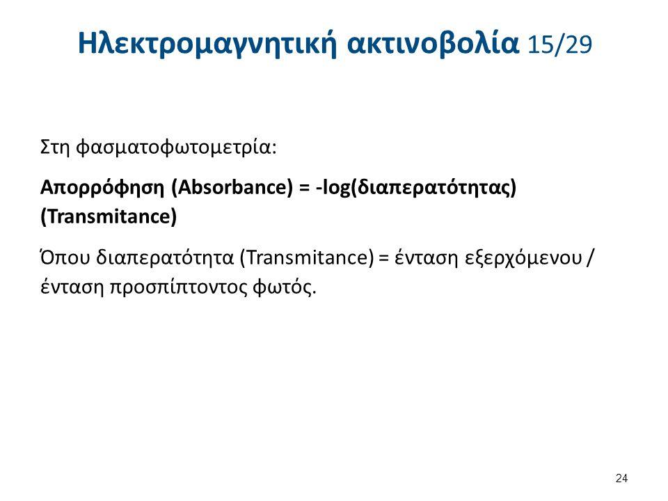 Ηλεκτρομαγνητική ακτινοβολία 15/29 Στη φασματοφωτομετρία: Απορρόφηση (Absorbance) = -log(διαπερατότητας) (Transmitance) Όπου διαπερατότητα (Transmitance) = ένταση εξερχόμενου / ένταση προσπίπτοντος φωτός.