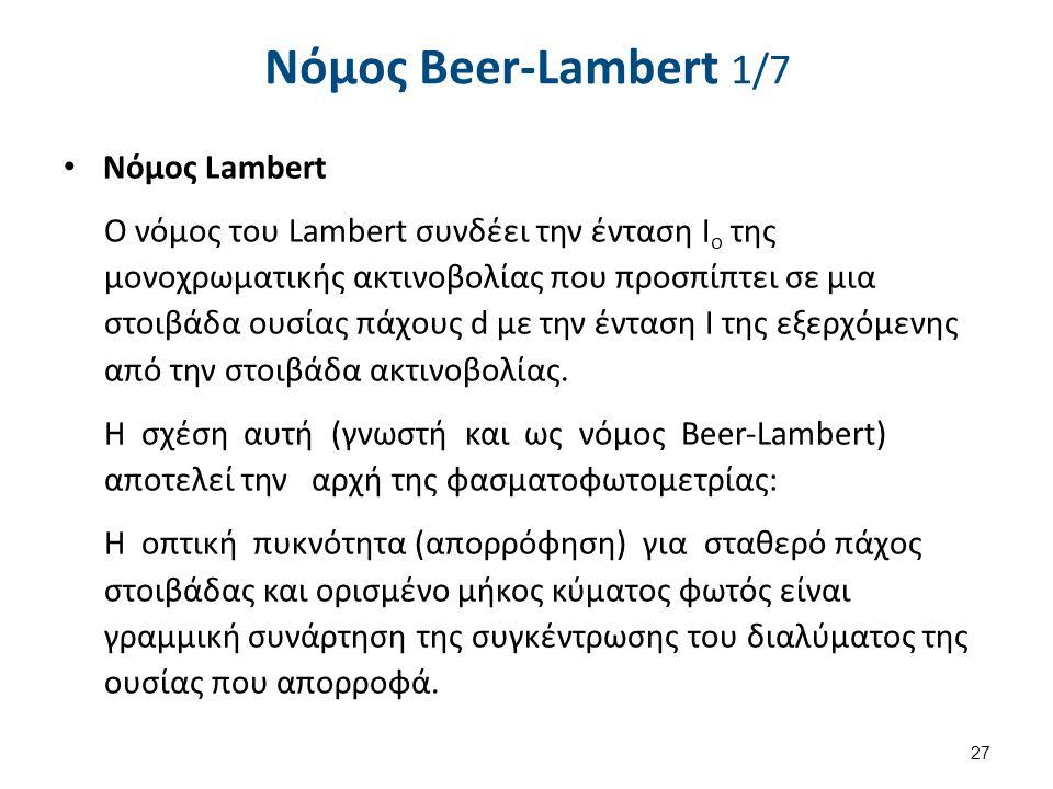 Νόµος Beer-Lambert 1/7 Νόμος Lambert Ο νόμος του Lambert συνδέει την ένταση Ι ο της μονοχρωματικής ακτινοβολίας που προσπίπτει σε μια στοιβάδα ουσίας πάχους d με την ένταση I της εξερχόμενης από την στοιβάδα ακτινοβολίας.
