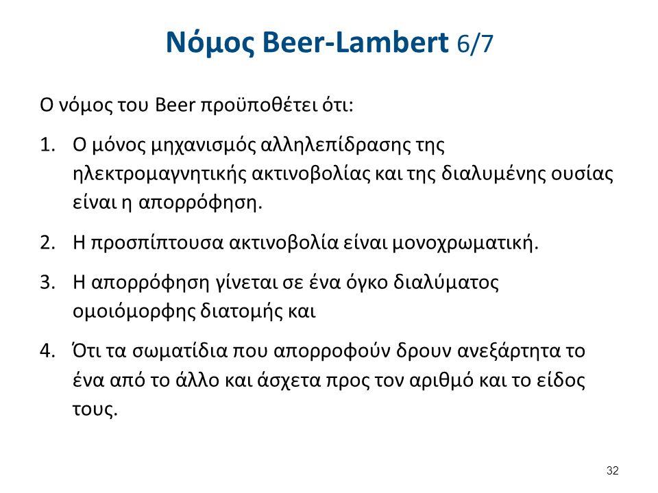 Νόµος Beer-Lambert 6/7 Ο νόμος του Beer προϋποθέτει ότι: 1.Ο μόνος μηχανισμός αλληλεπίδρασης της ηλεκτρομαγνητικής ακτινοβολίας και της διαλυμένης ουσίας είναι η απορρόφηση.