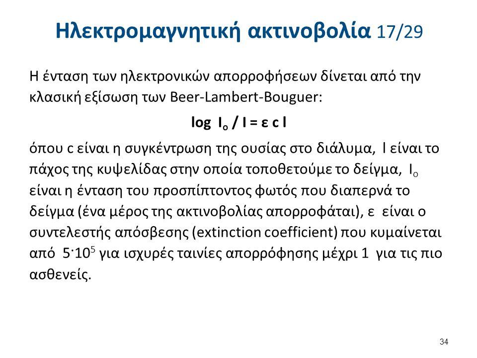Ηλεκτρομαγνητική ακτινοβολία 17/29 Η ένταση των ηλεκτρονικών απορροφήσεων δίνεται από την κλασική εξίσωση των Beer-Lambert-Bouguer: log I ο / I = ε c l όπου c είναι η συγκέντρωση της ουσίας στο διάλυμα, l είναι το πάχος της κυψελίδας στην οποία τοποθετούμε το δείγμα, Ι ο είναι η ένταση του προσπίπτοντος φωτός που διαπερνά το δείγμα (ένα μέρος της ακτινοβολίας απορροφάται), ε είναι ο συντελεστής απόσβεσης (extinction coefficient) που κυμαίνεται από 5·10 5 για ισχυρές ταινίες απορρόφησης μέχρι 1 για τις πιο ασθενείς.