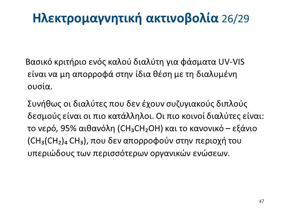 Ηλεκτρομαγνητική ακτινοβολία 26/29 Βασικό κριτήριο ενός καλού διαλύτη για φάσματα UV-VIS είναι να μη απορροφά στην ίδια θέση με τη διαλυμένη ουσία.