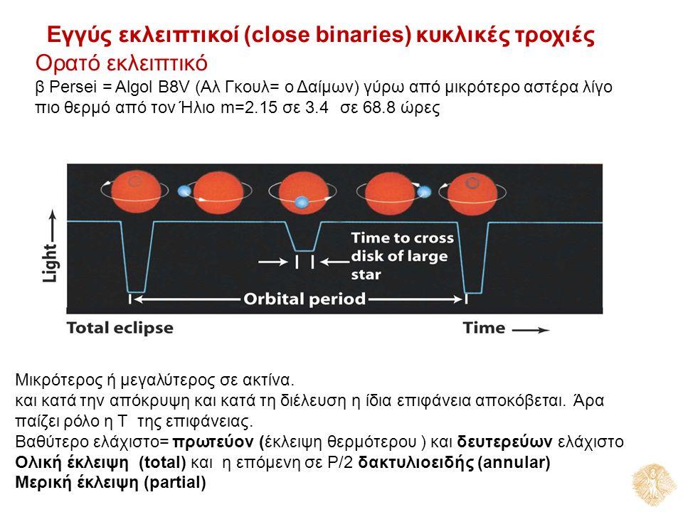 Εγγύς εκλειπτικοί (close binaries) κυκλικές τροχιές Ορατό εκλειπτικό β Persei = Algol Β8V (Αλ Γκουλ= ο Δαίμων) γύρω από μικρότερο αστέρα λίγο πιο θερμό από τον Ήλιο m=2.15 σε 3.4σε 68.8 ώρες Μικρότερος ή μεγαλύτερος σε ακτίνα.