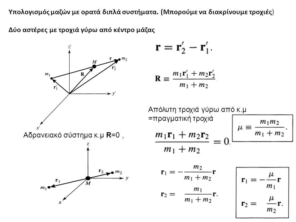 Υπολογισμός μαζών με ορατά διπλά συστήματα.