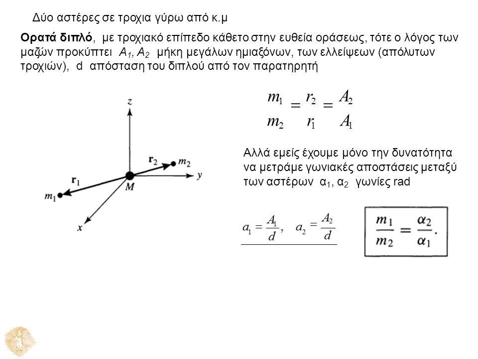 Δύο αστέρες σε τροχια γύρω από κ.μ Ορατά διπλό, με τροχιακό επίπεδο κάθετο στην ευθεία οράσεως, τότε ο λόγος των μαζών προκύπτειΑ 1, Α 2 μήκη μεγάλων ημιαξόνων, των ελλείψεων (απόλυτων τροχιών), dαπόσταση του διπλού από τον παρατηρητή m 1  r 2  A 2 m 2 r 1 A 1 Αλλά εμείς έχουμε μόνο την δυνατότητα να μετράμε γωνιακές αποστάσεις μεταξύ των αστέρων α 1, α 2 γωνίες rad