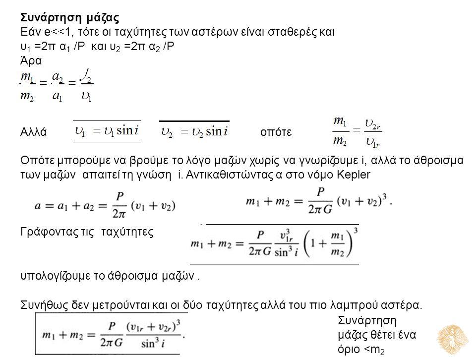 Συνάρτηση μάζας Εάν e<<1, τότε οι ταχύτητες των αστέρων είναι σταθερές και υ 1 =2π α 1 /P και υ 2 =2π α 2 /P ΆραΆρα Αλλάοπότεοπότε Οπότε μπορούμε να βρούμε το λόγο μαζών χωρίς να γνωρίζουμε i, αλλά το άθροισμα των μαζών απαιτεί τη γνώση i.