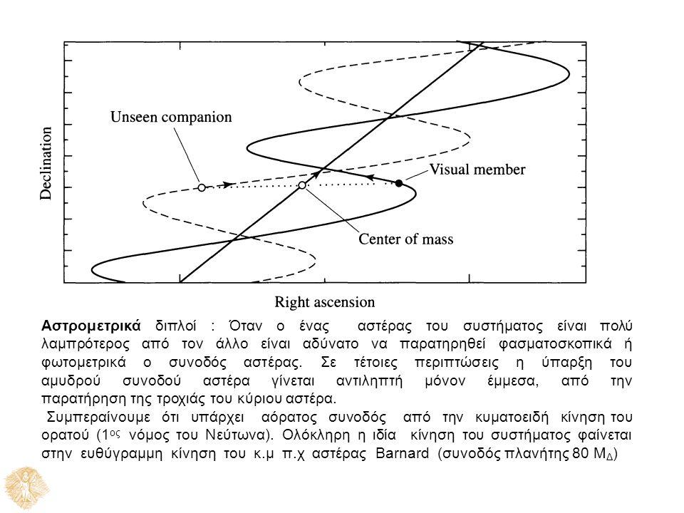 Αστρομετρικά διπλοί : Όταν ο ένας αστέρας του συστήματος είναι πολύ λαμπρότερος από τον άλλο είναι αδύνατο να παρατηρηθεί φασματοσκοπικά ή φωτομετρικά ο συνοδός αστέρας.