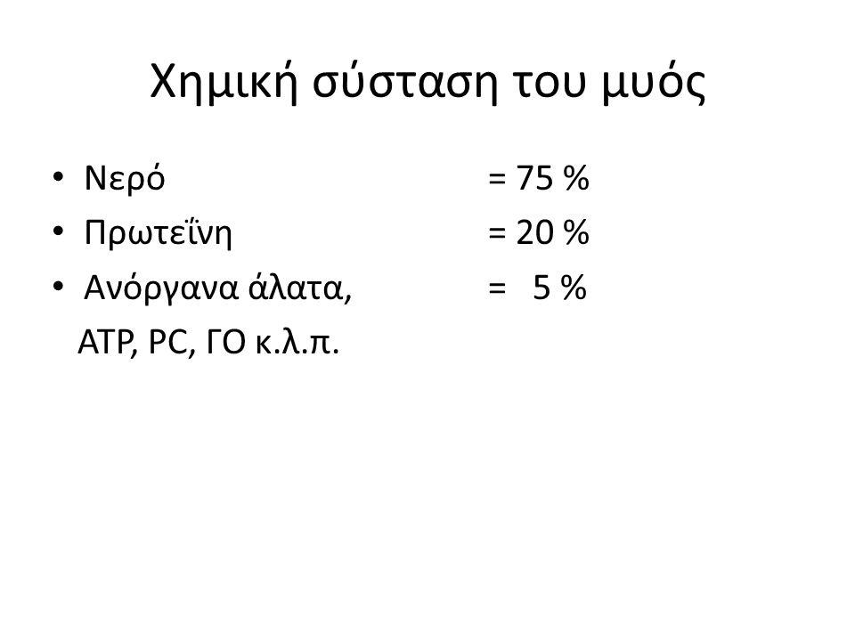 Χημική σύσταση του μυός Νερό = 75 % Πρωτεΐνη = 20 % Ανόργανα άλατα, = 5 % ΑΤΡ, PC, ΓΟ κ.λ.π.