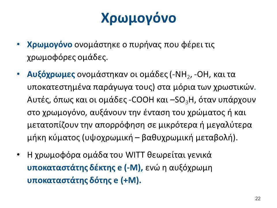 Χρωμογόνο Χρωμογόνο ονομάστηκε ο πυρήνας που φέρει τις χρωμοφόρες ομάδες. Αυξόχρωμες ονομάστηκαν οι ομάδες (-ΝΗ 2, -ΟΗ, και τα υποκατεστημένα παράγωγα