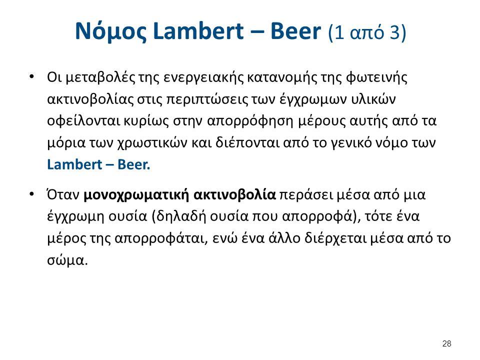 Νόμος Lambert – Beer (1 από 3) Οι μεταβολές της ενεργειακής κατανομής της φωτεινής ακτινοβολίας στις περιπτώσεις των έγχρωμων υλικών οφείλονται κυρίως στην απορρόφηση μέρους αυτής από τα μόρια των χρωστικών και διέπονται από το γενικό νόμο των Lambert – Beer.