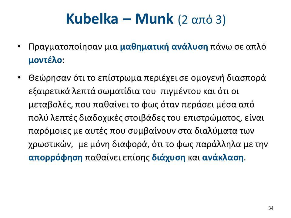 Kubelka – Munk (2 από 3) Πραγματοποίησαν μια μαθηματική ανάλυση πάνω σε απλό μοντέλο: Θεώρησαν ότι το επίστρωμα περιέχει σε ομογενή διασπορά εξαιρετικά λεπτά σωματίδια του πιγμέντου και ότι οι μεταβολές, που παθαίνει το φως όταν περάσει μέσα από πολύ λεπτές διαδοχικές στοιβάδες του επιστρώματος, είναι παρόμοιες με αυτές που συμβαίνουν στα διαλύματα των χρωστικών, με μόνη διαφορά, ότι το φως παράλληλα με την απορρόφηση παθαίνει επίσης διάχυση και ανάκλαση.