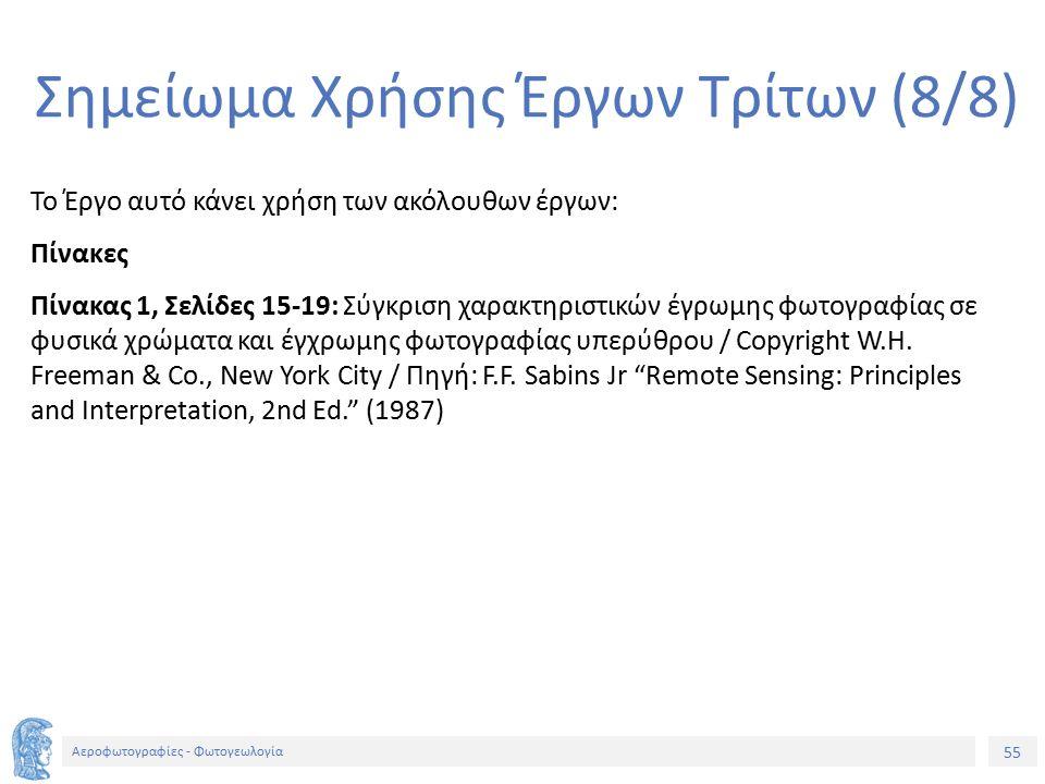 55 Αεροφωτογραφίες - Φωτογεωλογία Σημείωμα Χρήσης Έργων Τρίτων (8/8) Το Έργο αυτό κάνει χρήση των ακόλουθων έργων: Πίνακες Πίνακας 1, Σελίδες 15-19: Σ