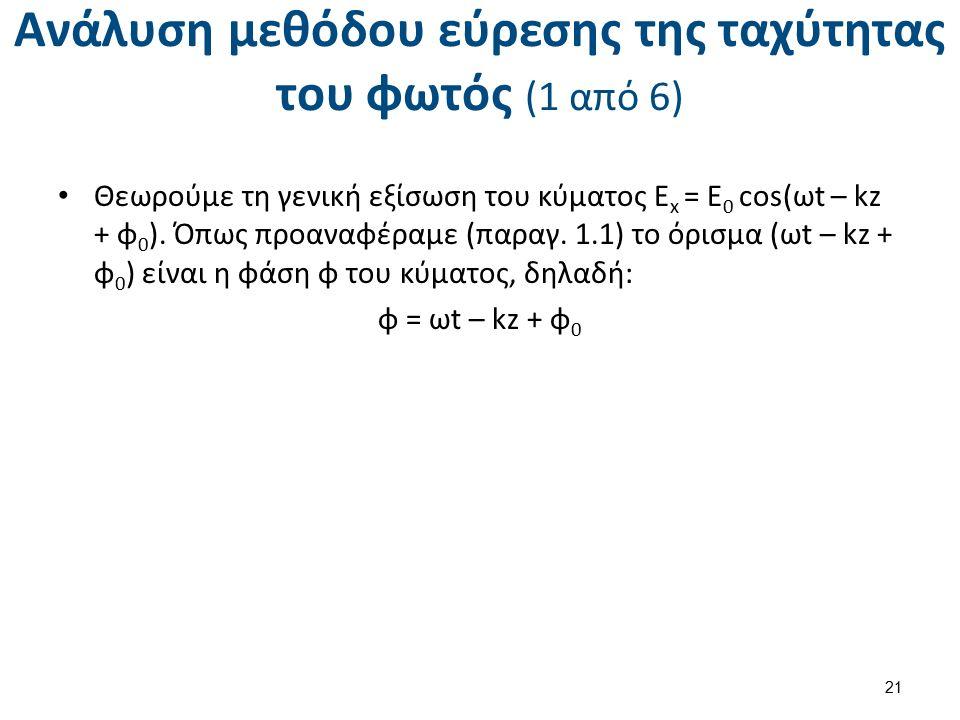 Ανάλυση μεθόδου εύρεσης της ταχύτητας του φωτός (1 από 6) Θεωρούμε τη γενική εξίσωση του κύματος E x = E 0 cos(ωt – kz + φ 0 ). Όπως προαναφέραμε (παρ