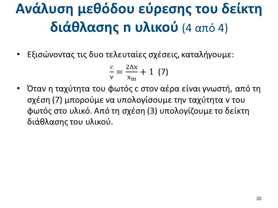 Ανάλυση μεθόδου εύρεσης του δείκτη διάθλασης n υλικού (4 από 4) 30