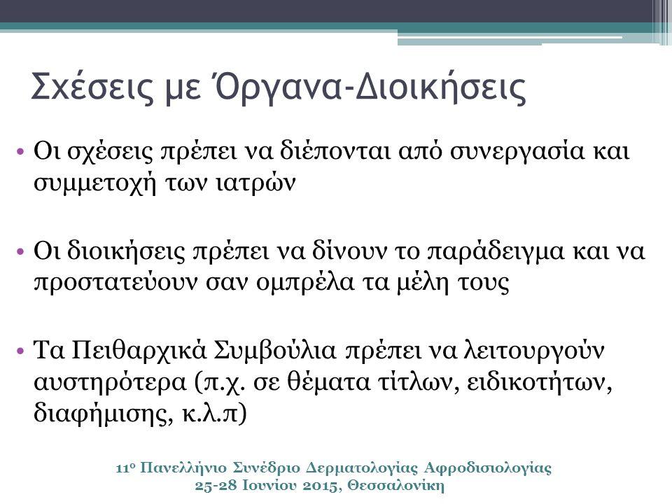 Σχέσεις με Όργανα-Διοικήσεις Οι σχέσεις πρέπει να διέπονται από συνεργασία και συμμετοχή των ιατρών Οι διοικήσεις πρέπει να δίνουν το παράδειγμα και να προστατεύουν σαν ομπρέλα τα μέλη τους Τα Πειθαρχικά Συμβούλια πρέπει να λειτουργούν αυστηρότερα (π.χ.