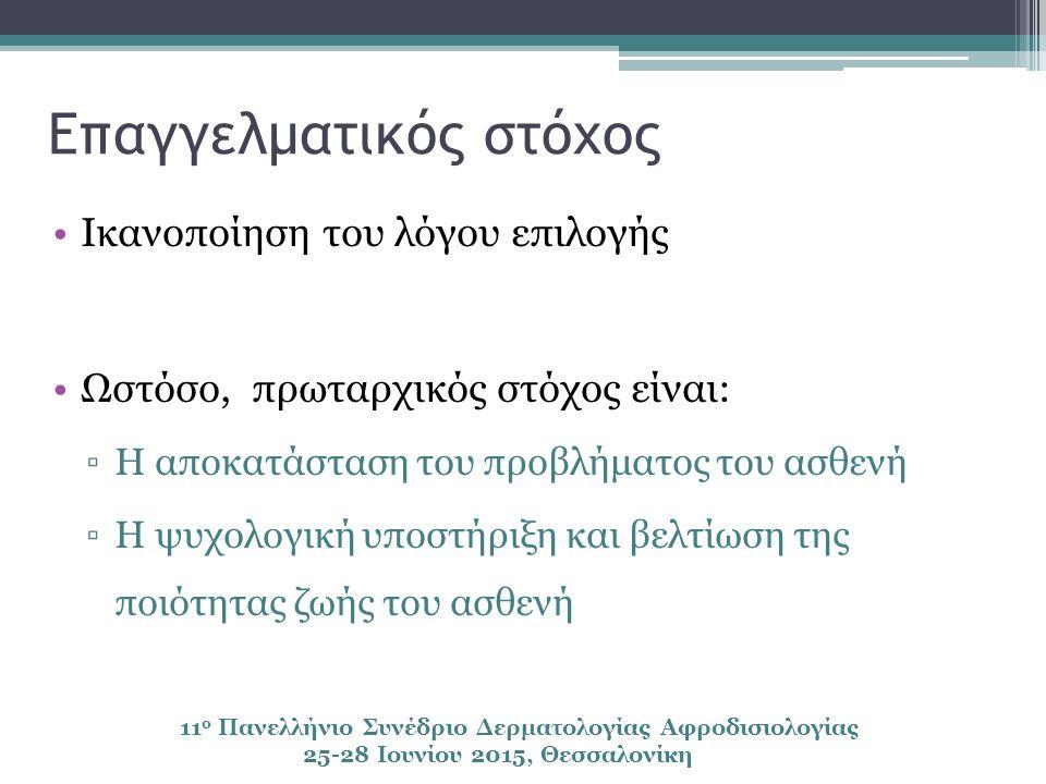 Επαγγελματικός στόχος Ικανοποίηση του λόγου επιλογής Ωστόσο, πρωταρχικός στόχος είναι: ▫Η αποκατάσταση του προβλήματος του ασθενή ▫Η ψυχολογική υποστήριξη και βελτίωση της ποιότητας ζωής του ασθενή 11 ο Πανελλήνιο Συνέδριο Δερματολογίας Αφροδισιολογίας 25-28 Ιουνίου 2015, Θεσσαλονίκη