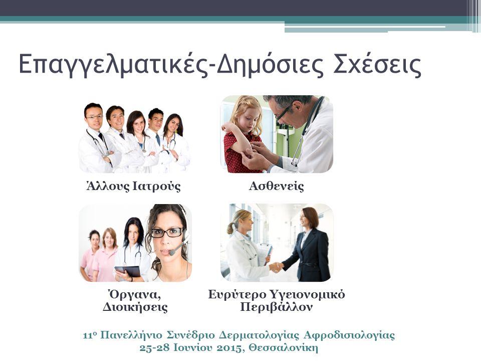 Επαγγελματικές-Δημόσιες Σχέσεις Άλλους ΙατρούςΑσθενείς Όργανα, Διοικήσεις Ευρύτερο Υγειονομικό Περιβάλλον 11 ο Πανελλήνιο Συνέδριο Δερματολογίας Αφροδισιολογίας 25-28 Ιουνίου 2015, Θεσσαλονίκη