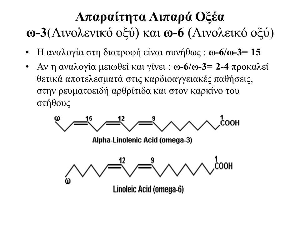Aπαραίτητα Λιπαρά Οξέα ω-3(Λινολενικό οξύ) και ω-6 (Λινολεικό οξύ) Η αναλογία στη διατροφή είναι συνήθως : ω-6/ω-3= 15 Αν η αναλογία μειωθεί και γίνει : ω-6/ω-3= 2-4 προκαλεί θετικά αποτελεσματά στις καρδιοαγγειακές παθήσεις, στην ρευματοειδή αρθρίτιδα και στον καρκίνο του στήθους
