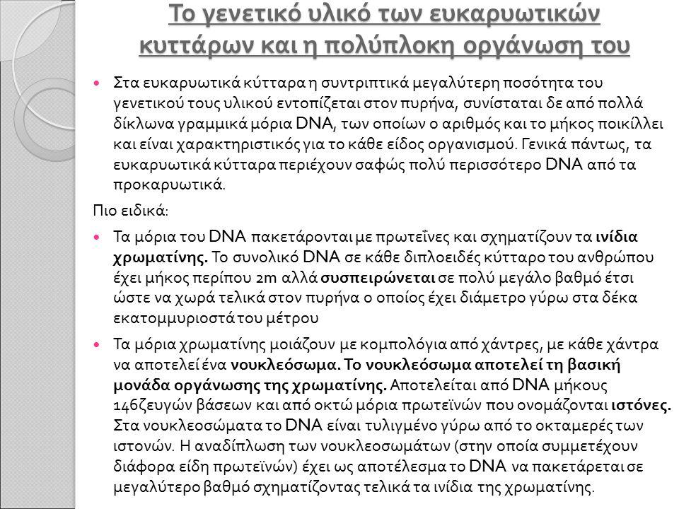 Το γενετικό υλικό των ευκαρυωτικών κυττάρων και η πολύπλοκη οργάνωση του Στα ευκαρυωτικά κύτταρα η συντριπτικά μεγαλύτερη ποσότητα του γενετικού τους