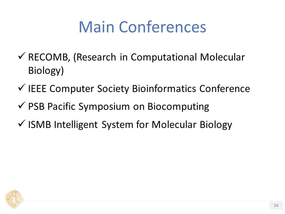 34 Τίτλος Ενότητας Main Conferences RECOMB, (Research in Computational Molecular Biology) IEEE Computer Society Bioinformatics Conference PSB Pacific Symposium on Biocomputing ISMB Intelligent System for Molecular Biology